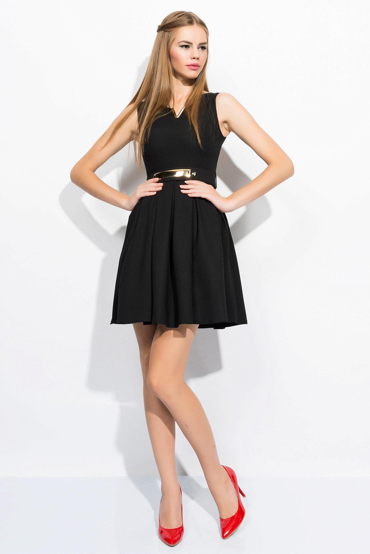 Черное платье красные лодочки