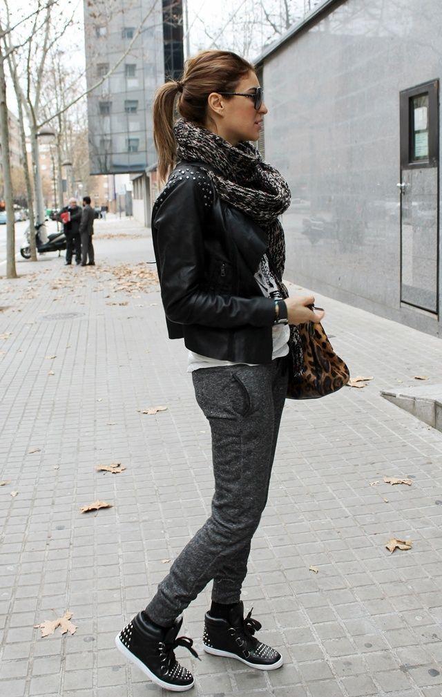 С чем носить кожаные кроссовки