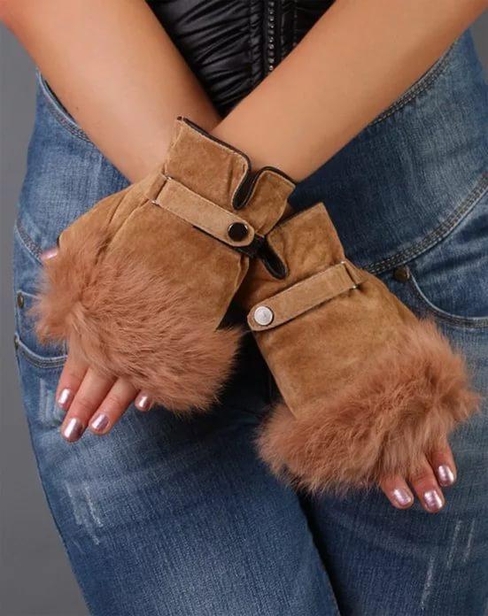 Перчатки с мехом своими руками