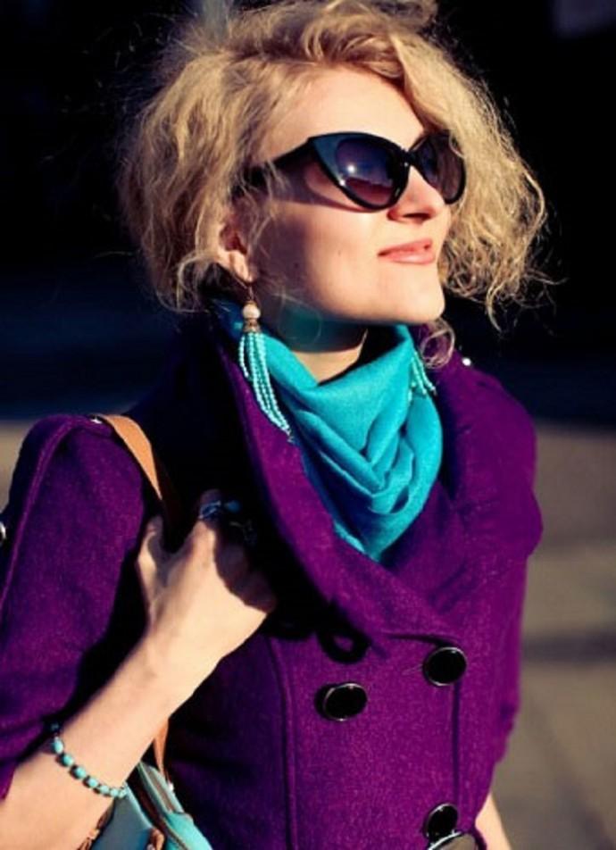 носить фото фиолетовый с шарф чем