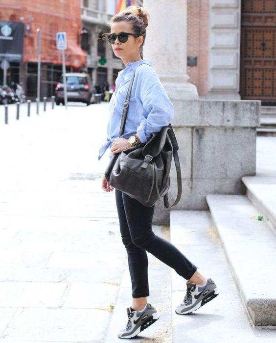 5a5f65ca73c14d Серые кроссовки идеально дополнят изделие синего или нежно-розового цвета.  В качестве верха лучше выбрать блузку или рубашку из тонкого материала.