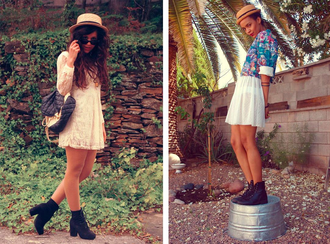 Платья с короткими ботинками