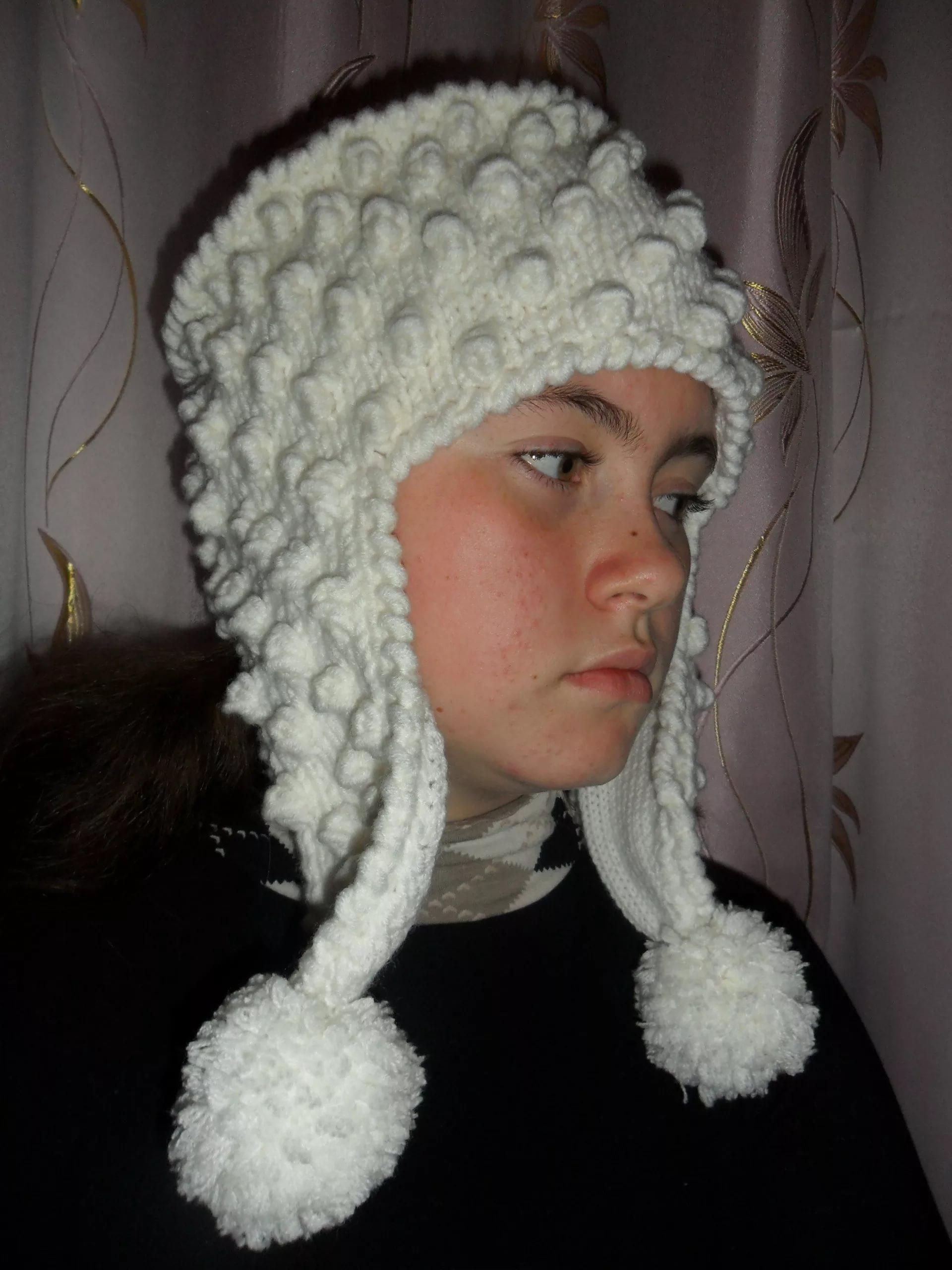 Вязание шапки ушанки для девочек подростка 8