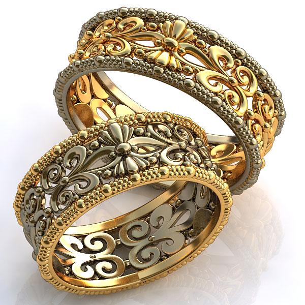 Парные кольца, наполовину сделанные из комбинированного золота, например,  белого и желтого или золота и платины, символично представляют собой  гармоничное ... 5691f4aa40a