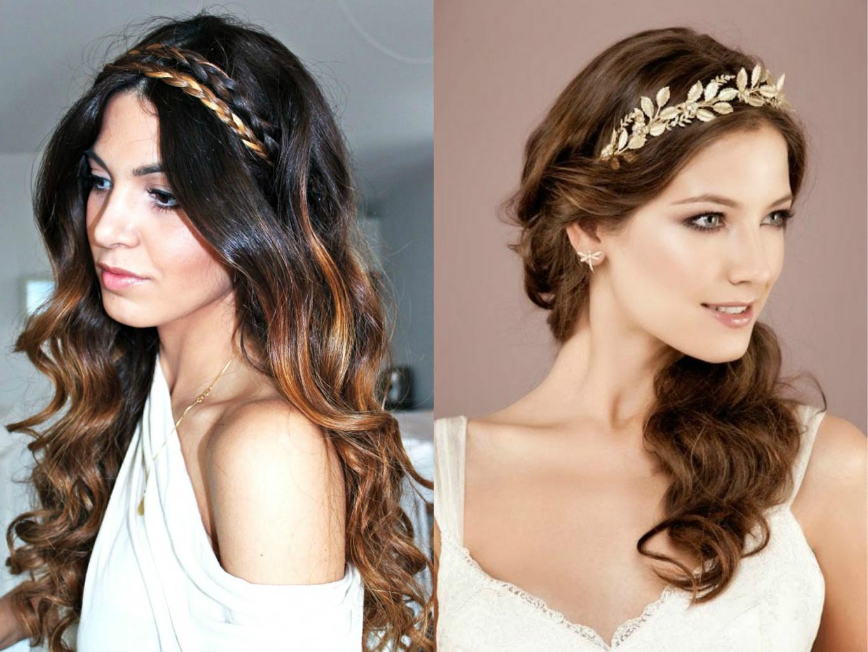 Греческие прически с ободком на средние волосы