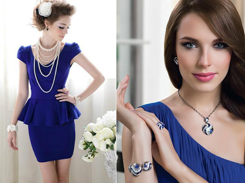 Бусы для темно синего платья
