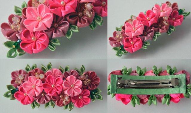 Цветы заколки  из лент 23