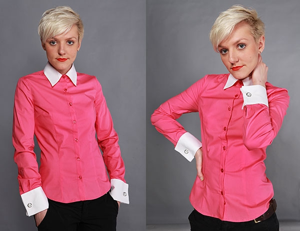 702829e58d4477c Нескучный офисный образ включает в себя классические черные брюки со  стрелками, рубашку яркого розового цвета с белым воротником и манжетами.
