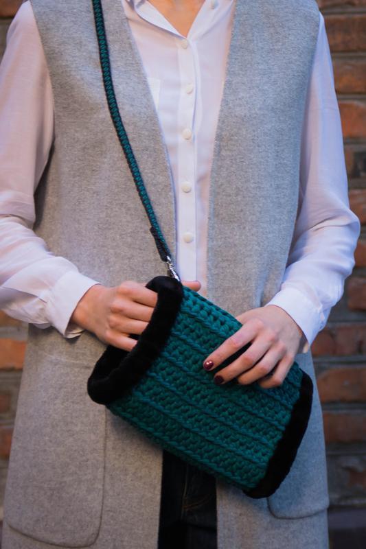 вязание сумки спицами из трикотажной пряжи