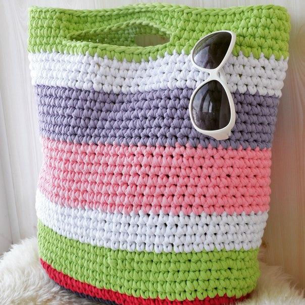 сумки связанные из ленточной пряжи