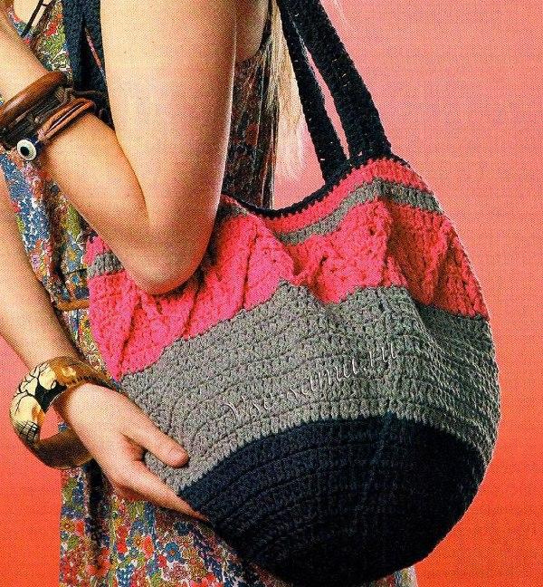 сумки из трикотажной пряжи крючком схемы фото