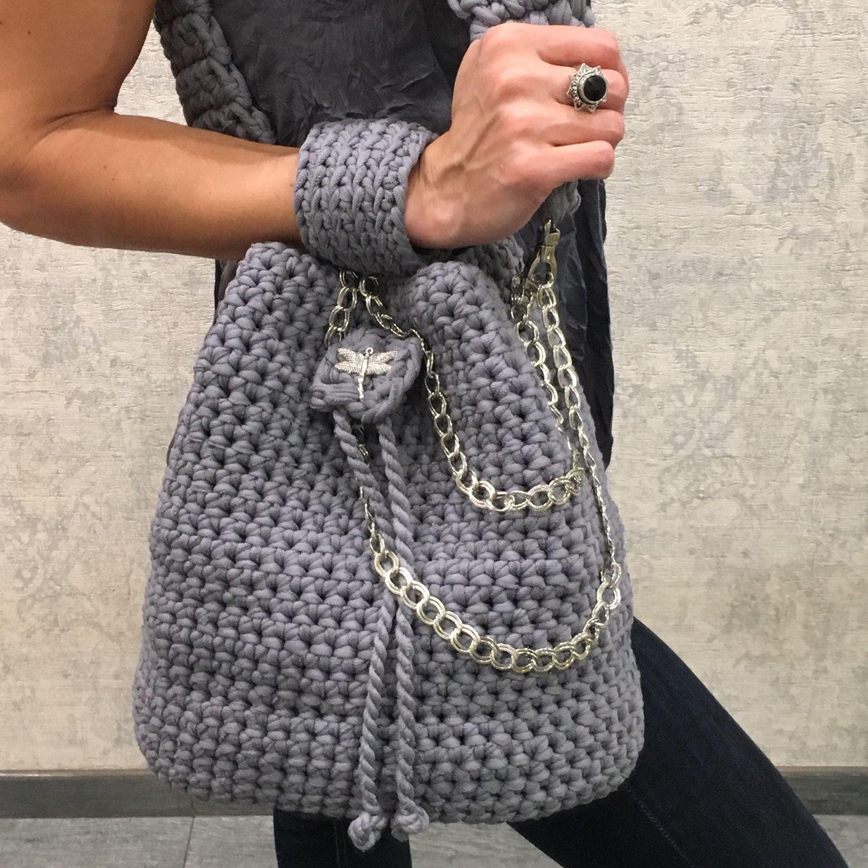 мастер класс вязание сумки из ленточной пряжи