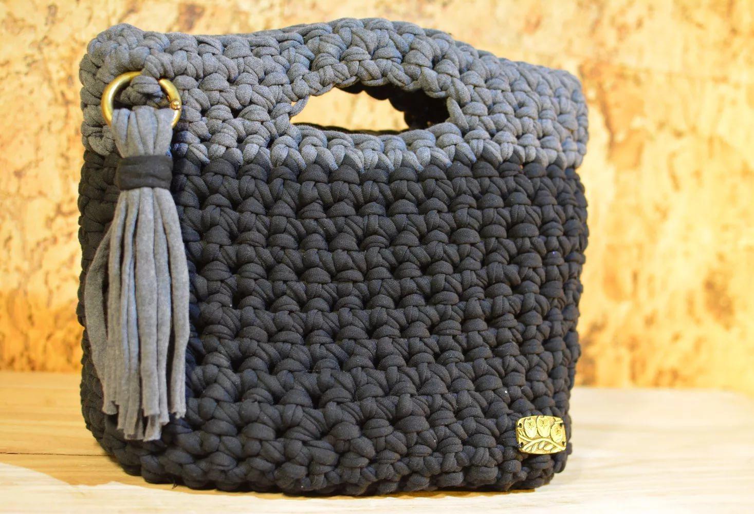 Вязание спицами сумки из трикотажной пряжи 65