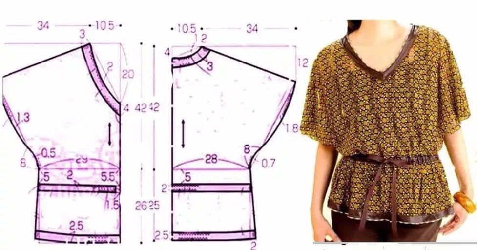 38e057b3c27 Выкройка блузки для полных женщин (49 фото)  летние блузоны-туники ...