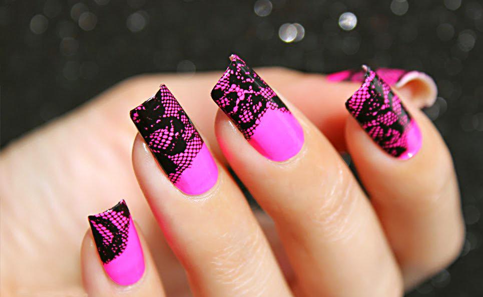 нарежьте кружками ногти розовый с черным фото дизайн картинки режиме реального времени