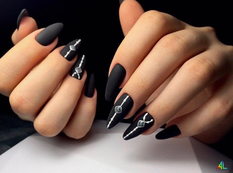 ногти черные дизайн фото 6