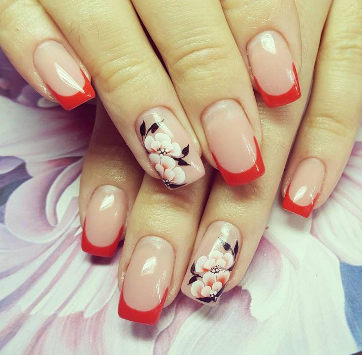 Картинки красного френча для ногтей с дизайном