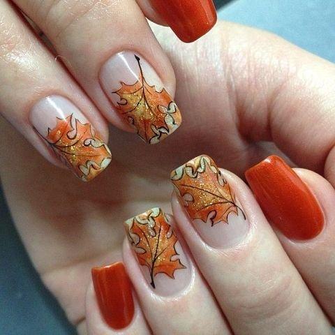 Маникюр с листьями: дизайн ногтей с изображением листьев
