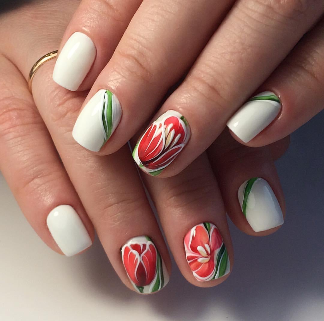 Дизайн ногтей с тюльпанами фото домашняя