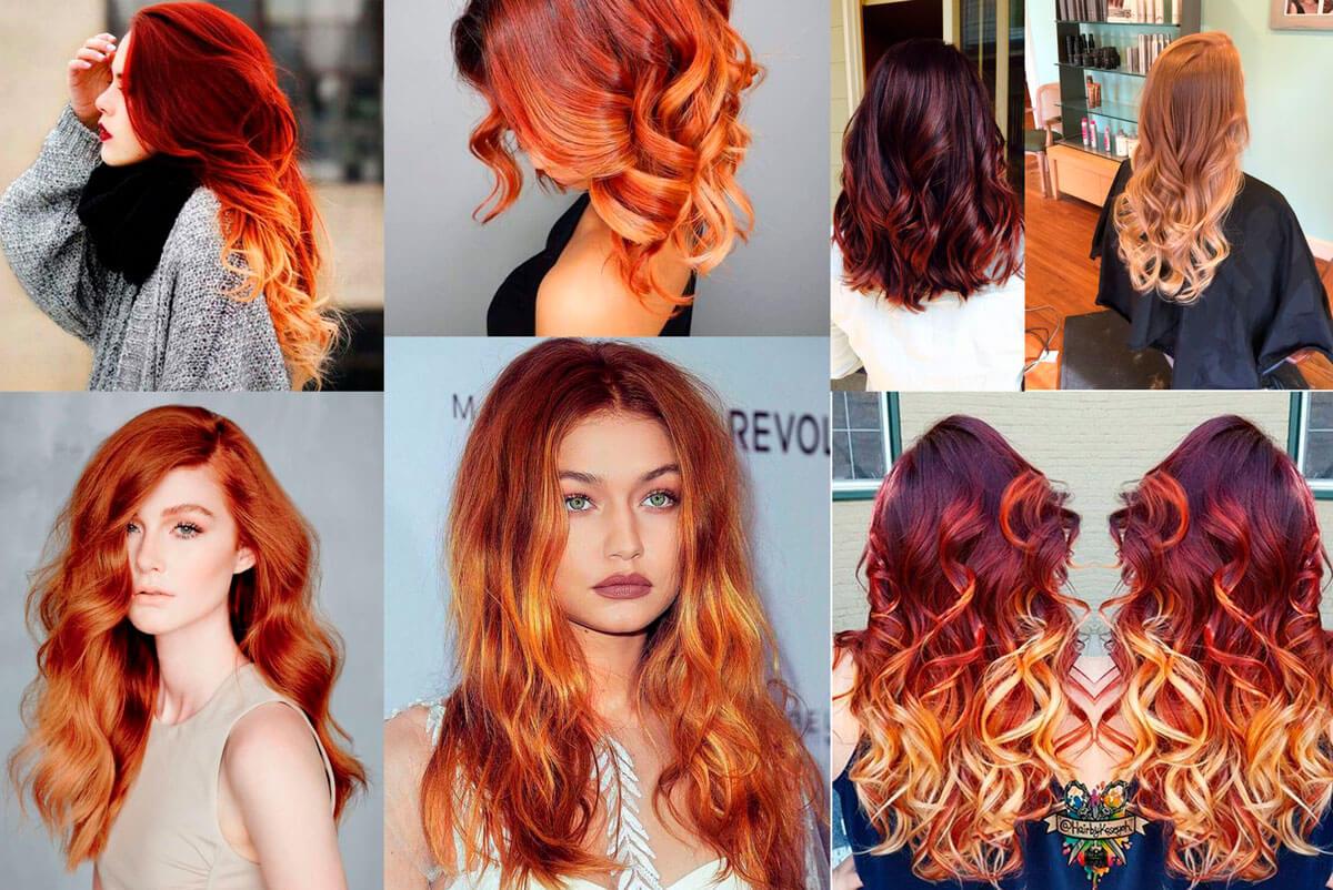 Балаяж на рыжие волосы каре