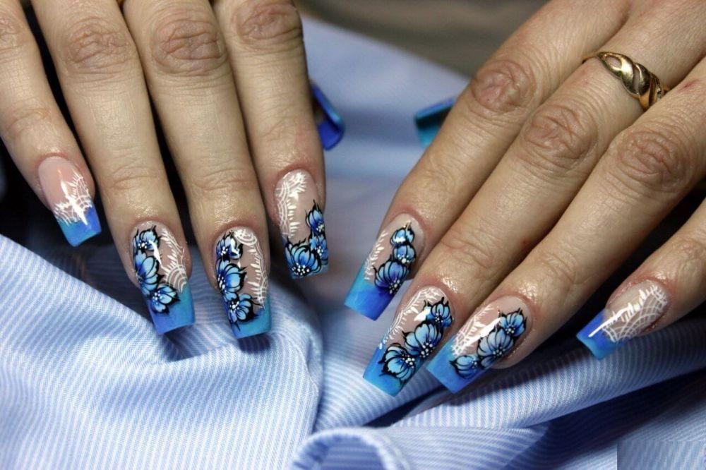 наращивание ногтей в синем цвете фото дизайн знать приложение для