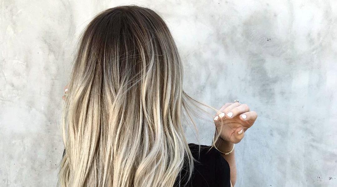 Балаяж серым цветом на темные волосы