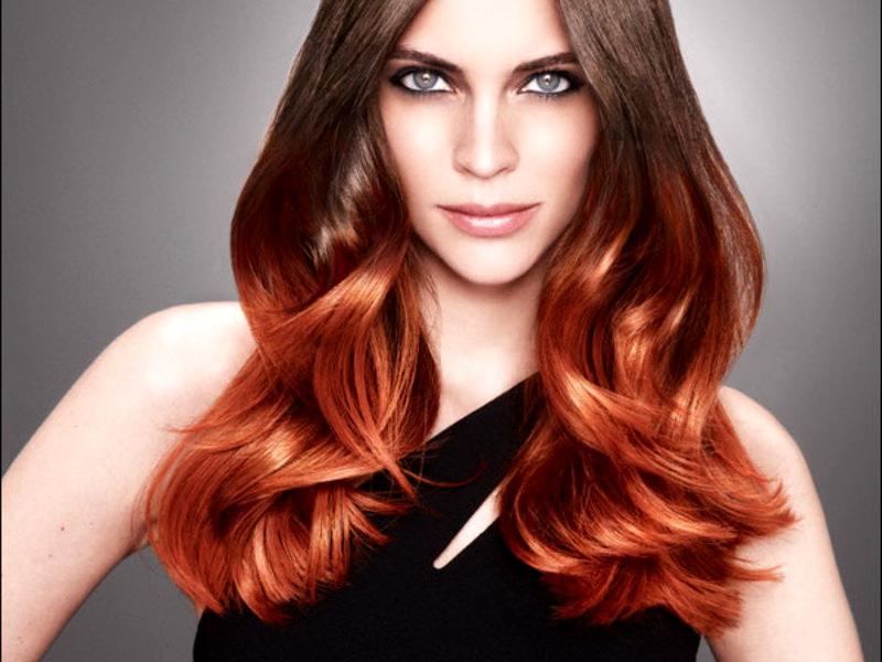 Рыжие волосы с белыми кончиками