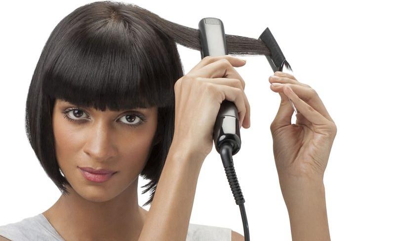 Укладка утюжком на короткие волосы