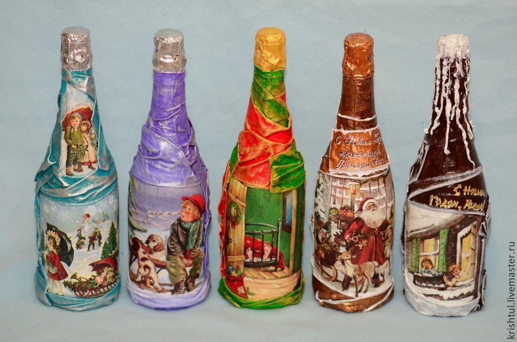 Декупаж новогодних бутылок мастер-класс с фото