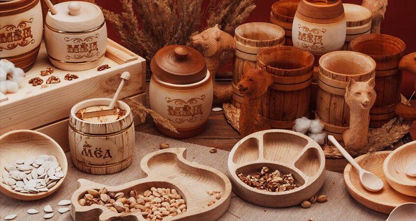 Посуду из древесины изготавливают из