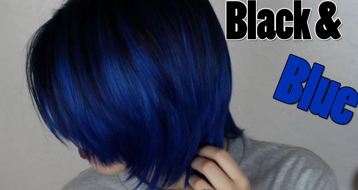 Черные волосы с синими кончиками