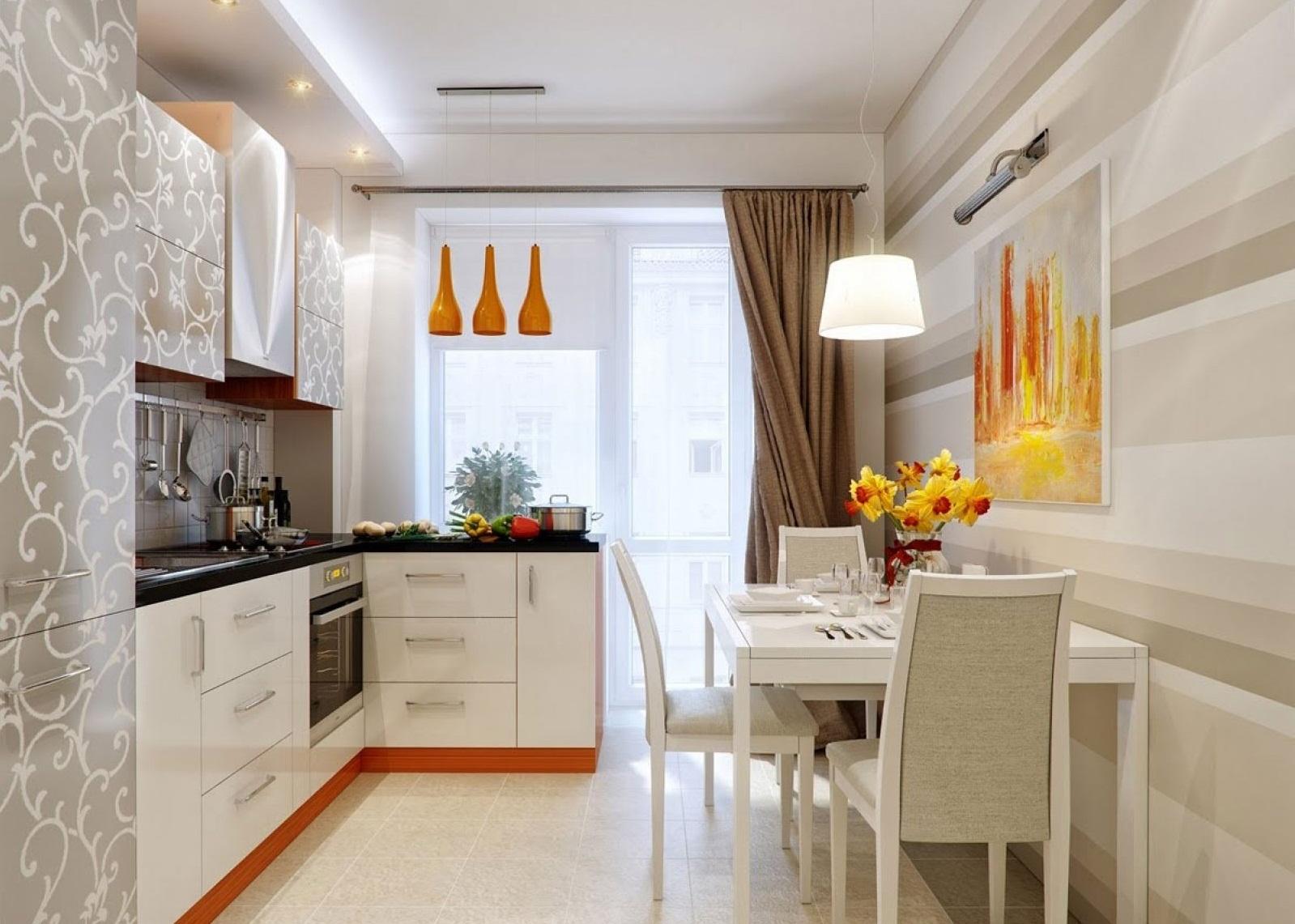 дизайн кухни прямоугольной в картинках много примеров