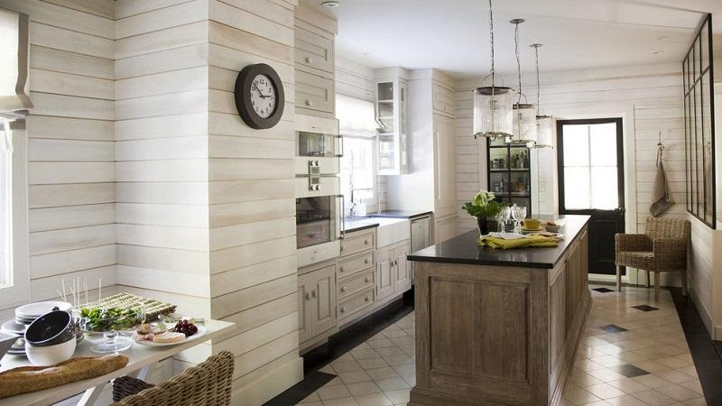 Вагонка на кухне 67 фото отделка в интрьере деревянного частного дома примеры обшитой панелями комнаты отделанный вагонкой фартук