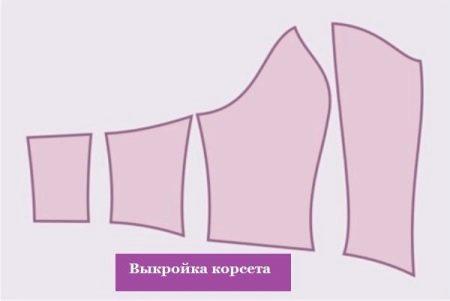 Пример выкройки свадебного корсета