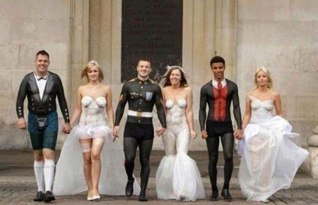 Нарисованные свадебные наряды - боди арт