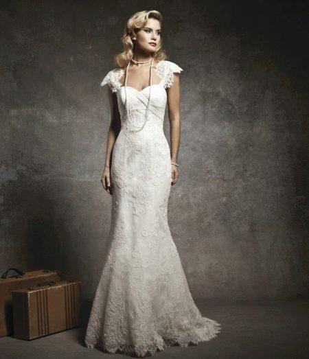 Свадебное платье русалочка с жемчужной нитью