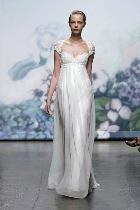 Свадебное платье ампир с кружевным лифом