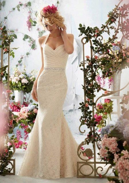 Кружевное свадебное платье длинное