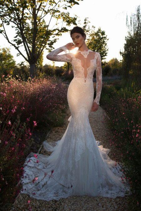 Сексуальное длинное свадебное платье с кружевом