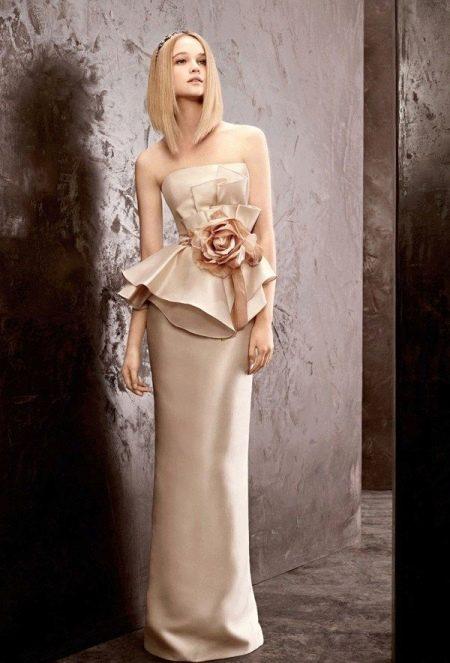 Летнее свадебное платье с баской