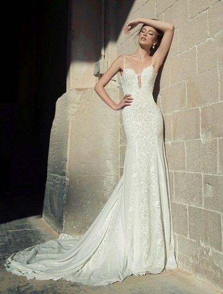 Летнее свадебное платье с кружевом
