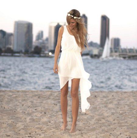 Простое пляжное свадебное платье
