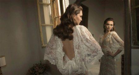 Свадебное платье сексуальное с открытой спиной и закрытым декольте