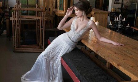 Белое длинное сексуальное свадебное платье