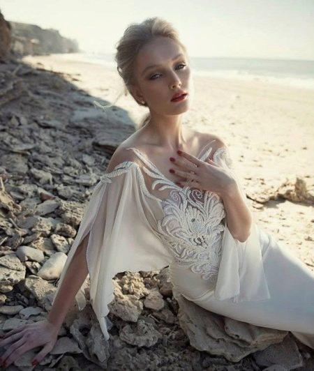 Отделка свадебного платья кружевом