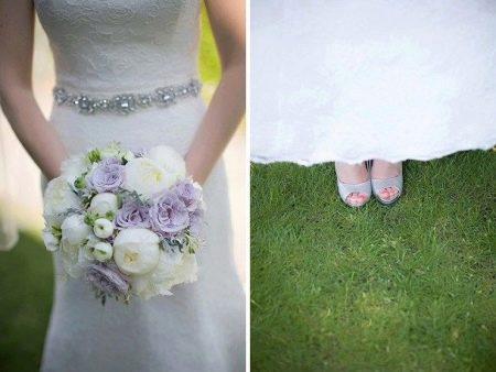 Свадебный букет и туфли на лавандовой свадьбе