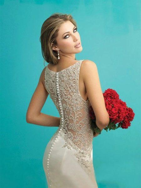 Свадебное платье для второго брака с кружевным верхом