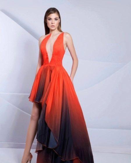 Вечернее платье короткое спереди, длинное сзади