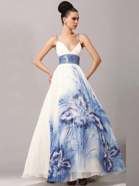 Свадебное платье с крупным рисунком для беременных