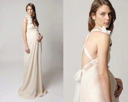 Свадебное платье для беременных с открытой спиной